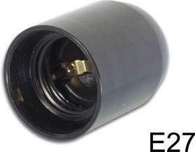 Plastfatning - E27, 10mm gevind, Sort