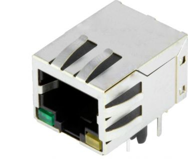 RJ45 fatning til printmontage - Skærmet, m. grøn+gul LED