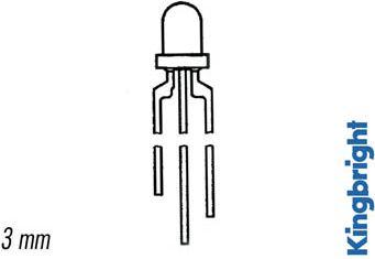 Kingbright - Kingbright 3mm LED - Tripolar GRØN/GUL hvid dif. (20mcd 60°)