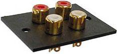 RCA(Phono) stikpanel - 4 x hun, Forgyldt (35x52mm)