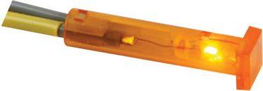 Panel kontrollampe - 24V, 7mm kvadrat, ORANGE
