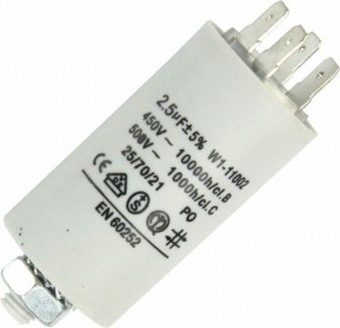 MOTOR kondensator - 2,5uF / 450V, M8 forskruning, Spadestik
