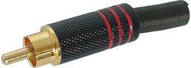 RCA(phono) han - Guld, Sort hus m. Rød ring (kabel Ø8mm)