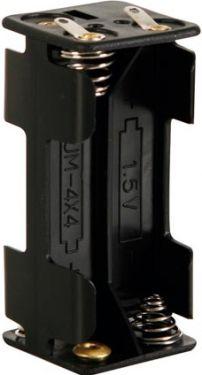 Batteriholder til 4 x AAA bat. (m. loddeflige)