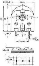 PIHER - Lodret trimmepotmeter - 22 Kohm, stor 15mm
