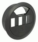 Bord-kabelgennemføringsflange - Ø60mm, 3 x Keystone, Sort