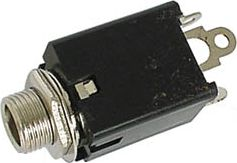 JACK fatning - 6,35mm stereo hun m. kontakt (lukket kreds)
