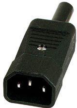 Apparatstik - IEC320-C14, 3 pol AC han, sort (High-Q)