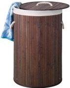 PEREL - Vasketøjskurv - Rund, Ø:40 x 60cm, Brun bambus