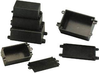 G1019 plastkabinet - Sort m. flanger (55x80x32mm)