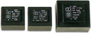 Velleman - 230V printtransformator - 25VA 2 x 7,5V / 2 x 1,667A