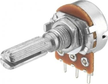 Potmeter - 20 Kohm mono log., 6mm rillet metalaksel
