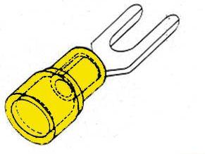 Gul kabelsko - Gaffelstik Ø6,4mm (10 stk.)