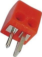 Højttalerstik -2 pol DIN m. skruterm. Firkantet, Rød