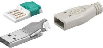 GOOBAY - USB A hanstik - Til loddefri ledningsmontage, Grå