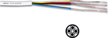 Telefonledning - 4 x 0,20mm² trådet, Hvid (metervare)