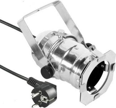 Eurolite - PAR16 lampehus - Krom, GU10, kabel m. stik