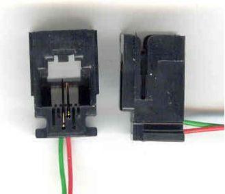 RJ11 modular fatning til kabinetmontage m. 2 ledninger