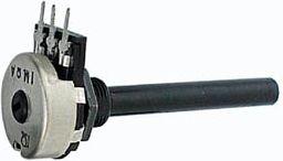 Potmeter - 10 Kohm lin. metalhus plastaksel (Ø6mm)