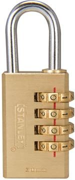 Stanley - Kombinations hængelås - Massiv messing, 30mm, 4 cifre