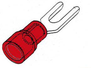 Rød kabelsko - Gaffelstik Ø5,3mm (10 stk.)