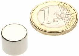 Magnet, neodynium - Cyl. N45 Zn Ø12 x 10mm (1 stk.)