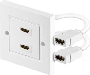 HDMI vægdåse - 2 x HDMI, til kabelkanal, Hvid