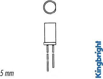Kingbright - 5mm LED - Rund, flad top, ORANGE diffus(8mcd)