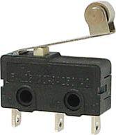 Microswitch - 3A 250V omskifter, Kort rullebolt arm