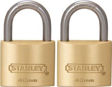 Stanley - Hængelås - Massiv messing, std. hængsel, 40mm (2 stk.)