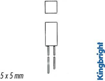 Kingbright - Kingbright kvadrat LED - 5x5mm RØD, diffus (2mcd 110°)
