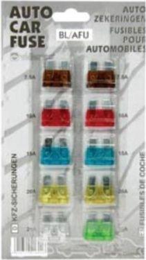Bilsikringssortiment - 7,5 til 30A (10 stk.)