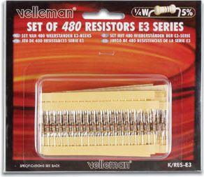 Velleman - Modstandssortiment 480 stk. (E3-serie)