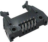 IDC print fladkabelstik, han - 10 pol, 90° m. lås (2,54mm)