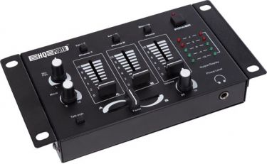 HQ Power - Stereo mixer m. 3 kanaler + 2 mik. kanaler, Sort