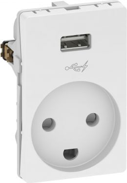 Lauritz Knudsen - FUGA stikkontakt m. jord + 5V / 1A USB ladestik