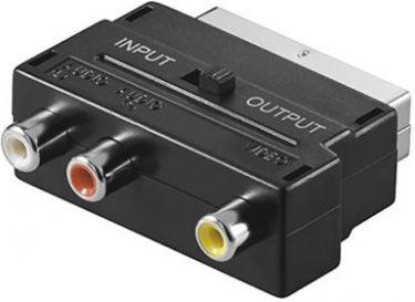 SCART adapter - SCART han til 3 x RCA hun (A/V ind/ud)
