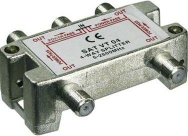 TV/FM/SAT antennesplitter - 4 vejs 5-2450MHz (til F stik)