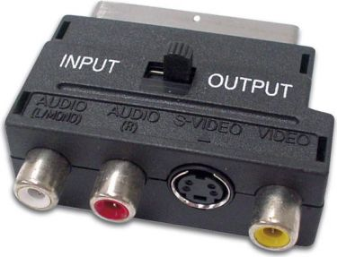 SCART IN/OUT adapter - SCART han > 3 x RCA +S-VHS