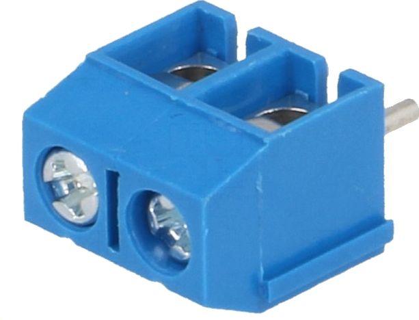Skrueterminal - 2 pol, blå, 5mm benafstand