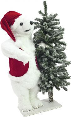 Europalms Polar bear, with snowy fir, 105cm