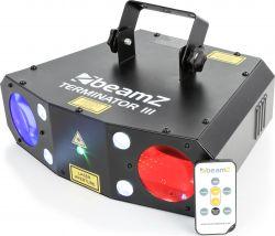 Lyseffekt Terminator 3-i-1. Mange farvede stråler + rød/grøn laser + Strobelys. Nem Musikstyring!