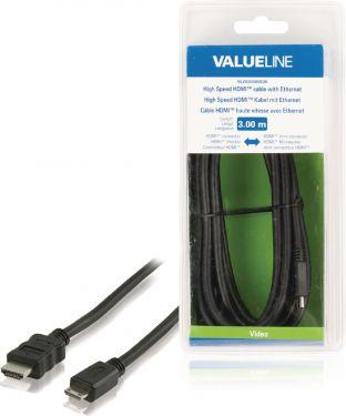Valueline VLVB34500B30 High Speed Hdmi Kabel Med Ethernet HDMI-Stik - HDMI Mini Male 3.00 m Sort