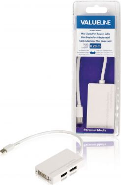 Valueline VLMB37460W02 Mini Displayport Kabel Mini DisplayPort Han - 2x IEC-320-C13 0.20 m Hvid