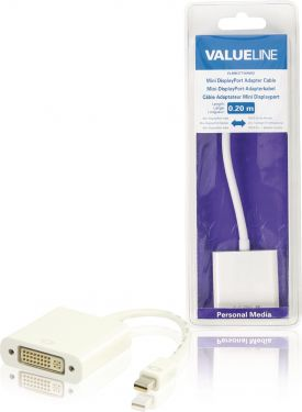 Valueline VLMB37750W02 Mini Displayport Kabel Mini DisplayPort Han - DVI-I 24 + 5-Pin Hun 0.20 m Hvi