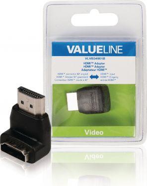 Valueline VLVB34901B High Speed Hdmi Med Ethernet Adapter Vinkel 90° HDMI-Stik - HDMI Hun Sort