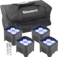 BeamZ BBP94 Batteri Uplight Par 4x 10W - Pakke med 4 stk. inkl. Taske