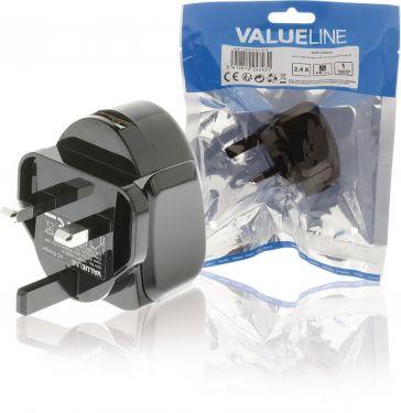 Valueline VLMP11955BUK Vægoplader USB 1-Udgang 2.4 A 2.4 A USB Sort