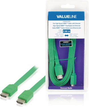 Valueline VLMB34010G20 High Speed Hdmi Kabel Med Ethernet Flat HDMI-Stik - HDMI-Stik 2.00 m Grøn