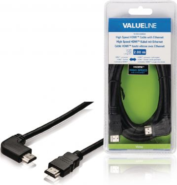 Valueline VLVB34260B20 High Speed Hdmi Kabel Med Ethernet HDMI-Stik - HDMI-Stik Vinklet højre 2.00 m